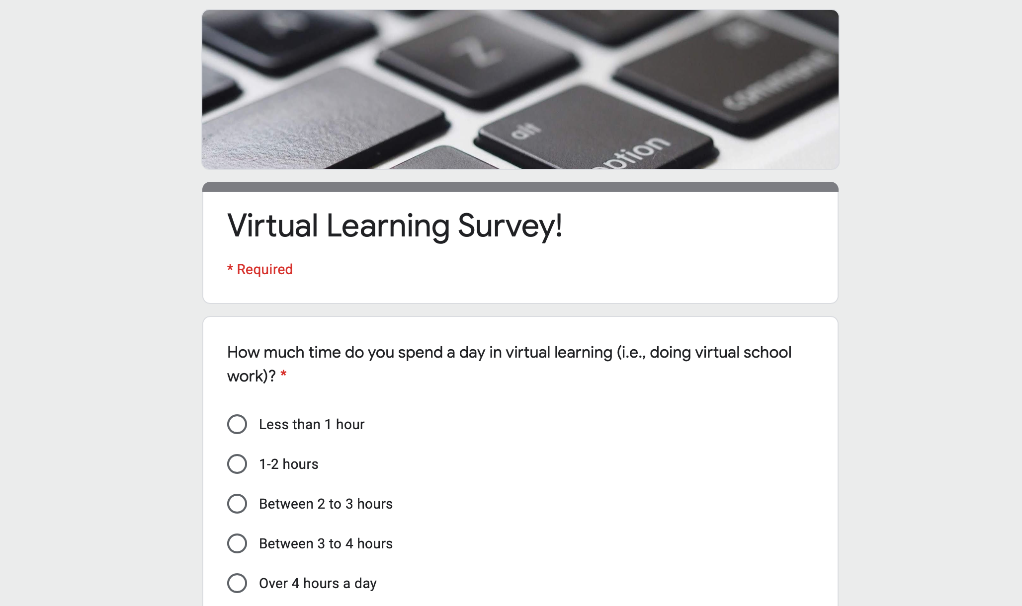 Showing a survey